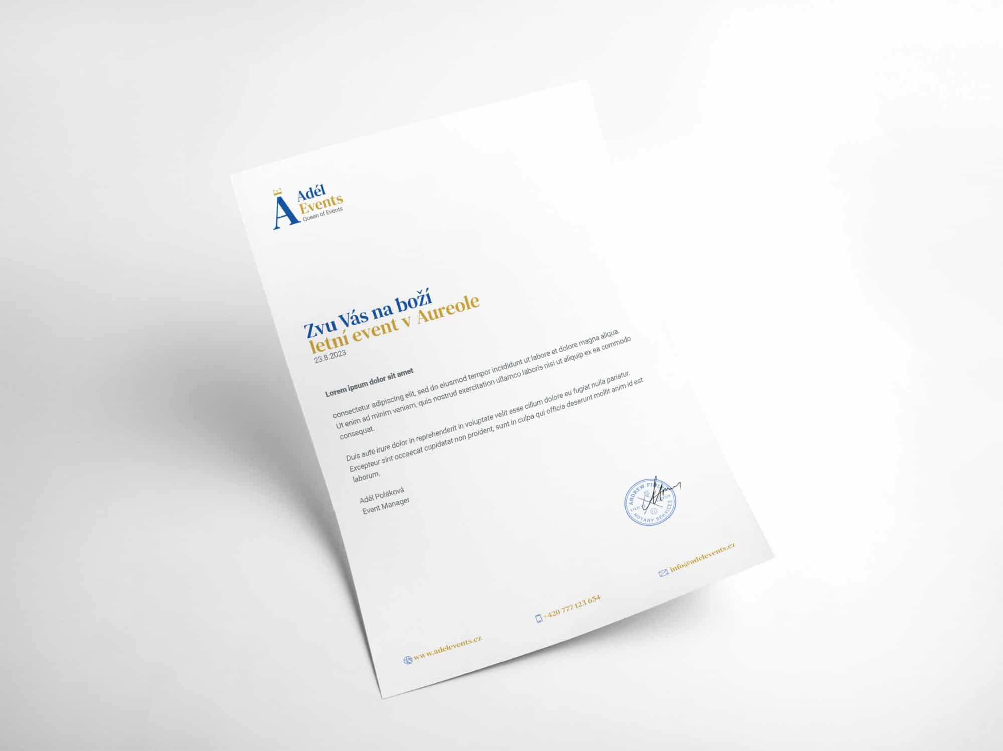 Tvorba loga avizuální identity Adel events hlavičkový papír
