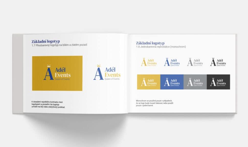 Tvorba loga avizuální identity Adel events logomanuál otevřený