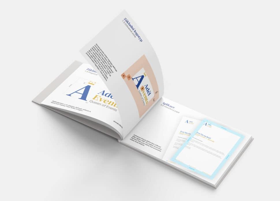 Tvorba loga avizuální identity Adel events logomanuál otevřený naochranné zóně