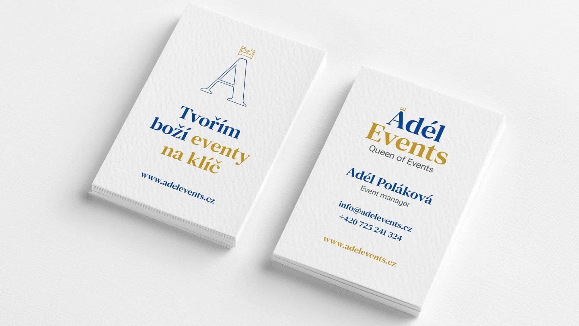 Tvorba loga avizuální identity Adel events vizitky