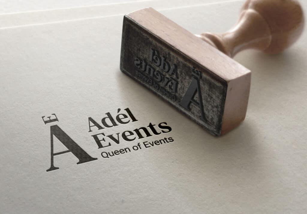 Tvorba loga avizuální identity Adel events razítko
