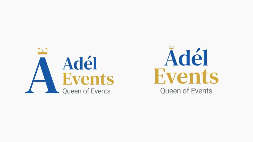 Tvorba loga avizuální identity Adel events bílý papír