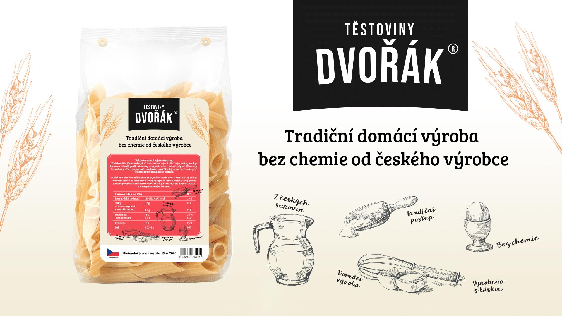 Tvorba loga avizuální identity Těstoviny Dvořák packshot aobal