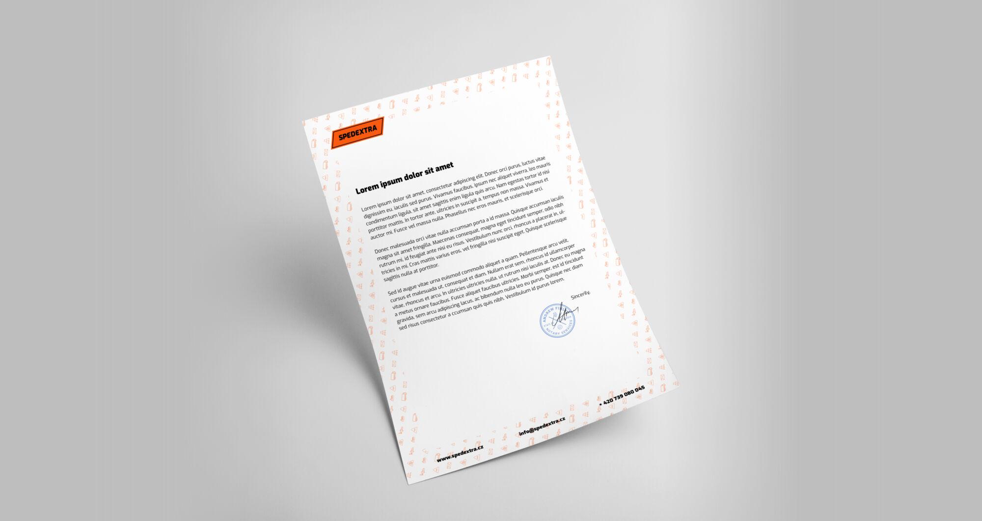 Tvorba loga avizuální identity Spedextra hlavičkový papír