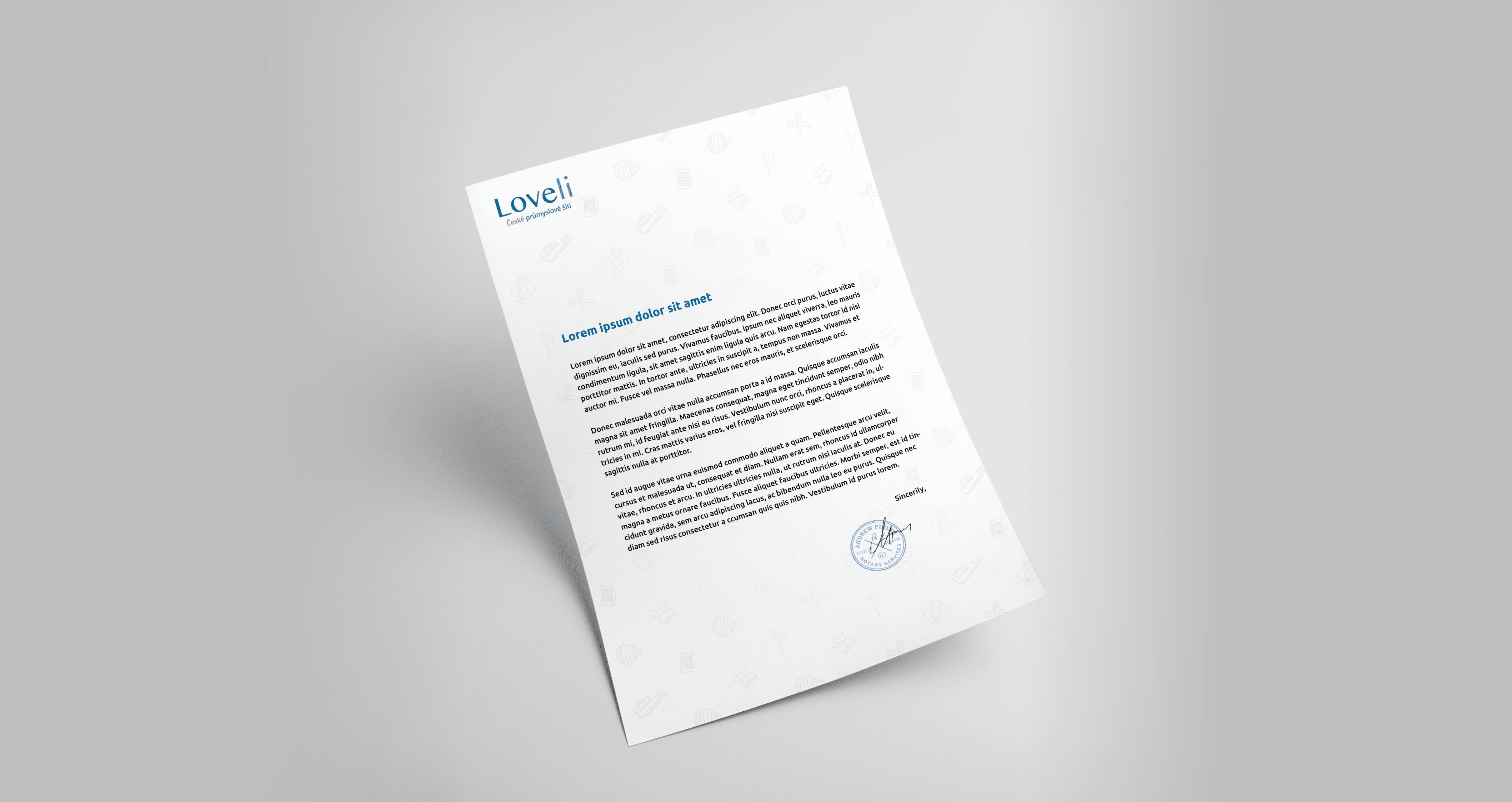 Tvorba loga avizuální identity Loveli hlavičkový papír