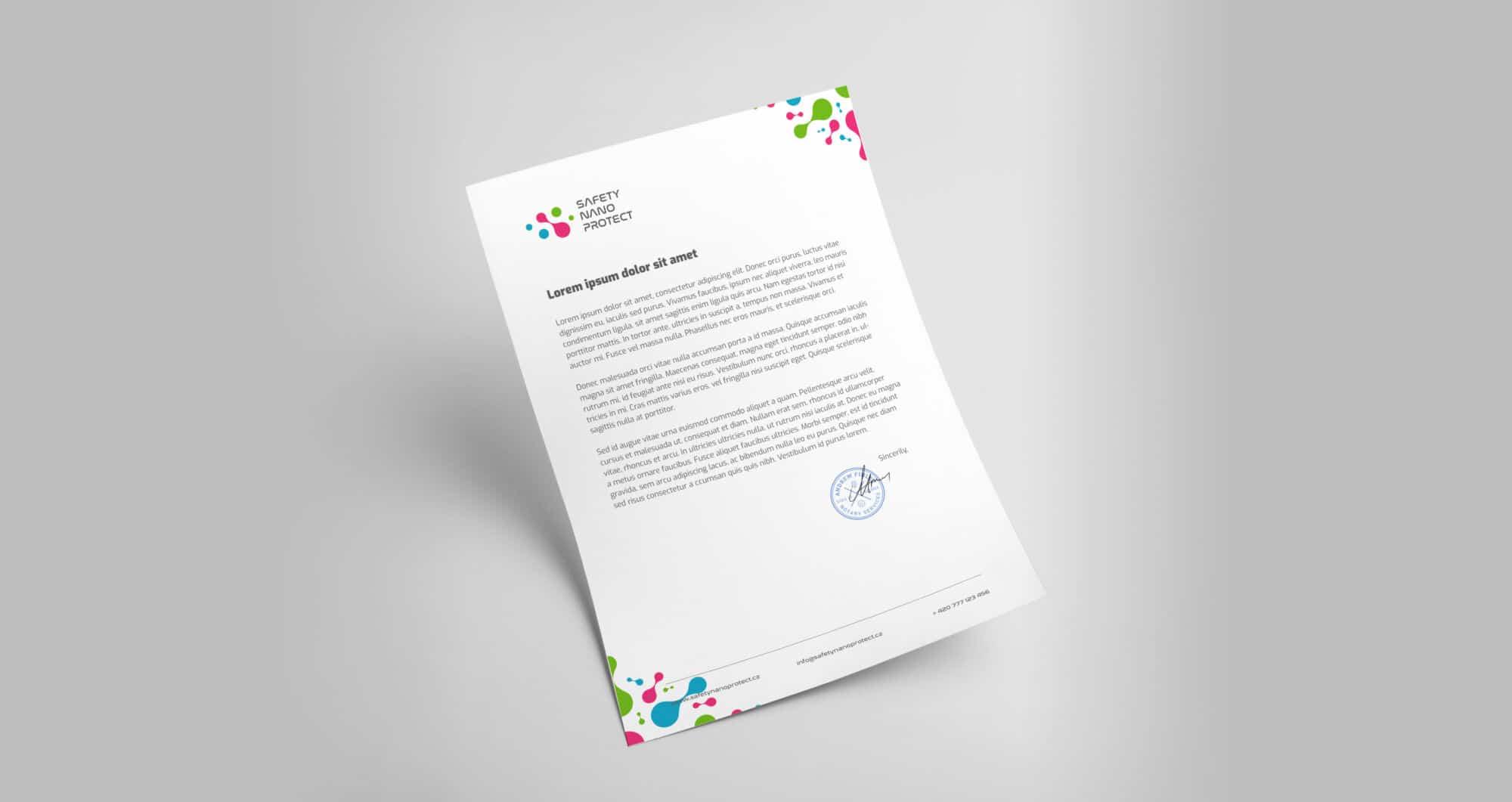 Tvorba loga avizuální identity Safety Nano Protect hlavičkový papír