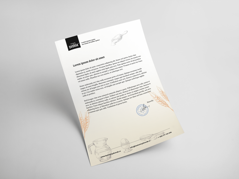 Tvorba loga avizuální identity Těstoviny Dvořák hlavičkový papír