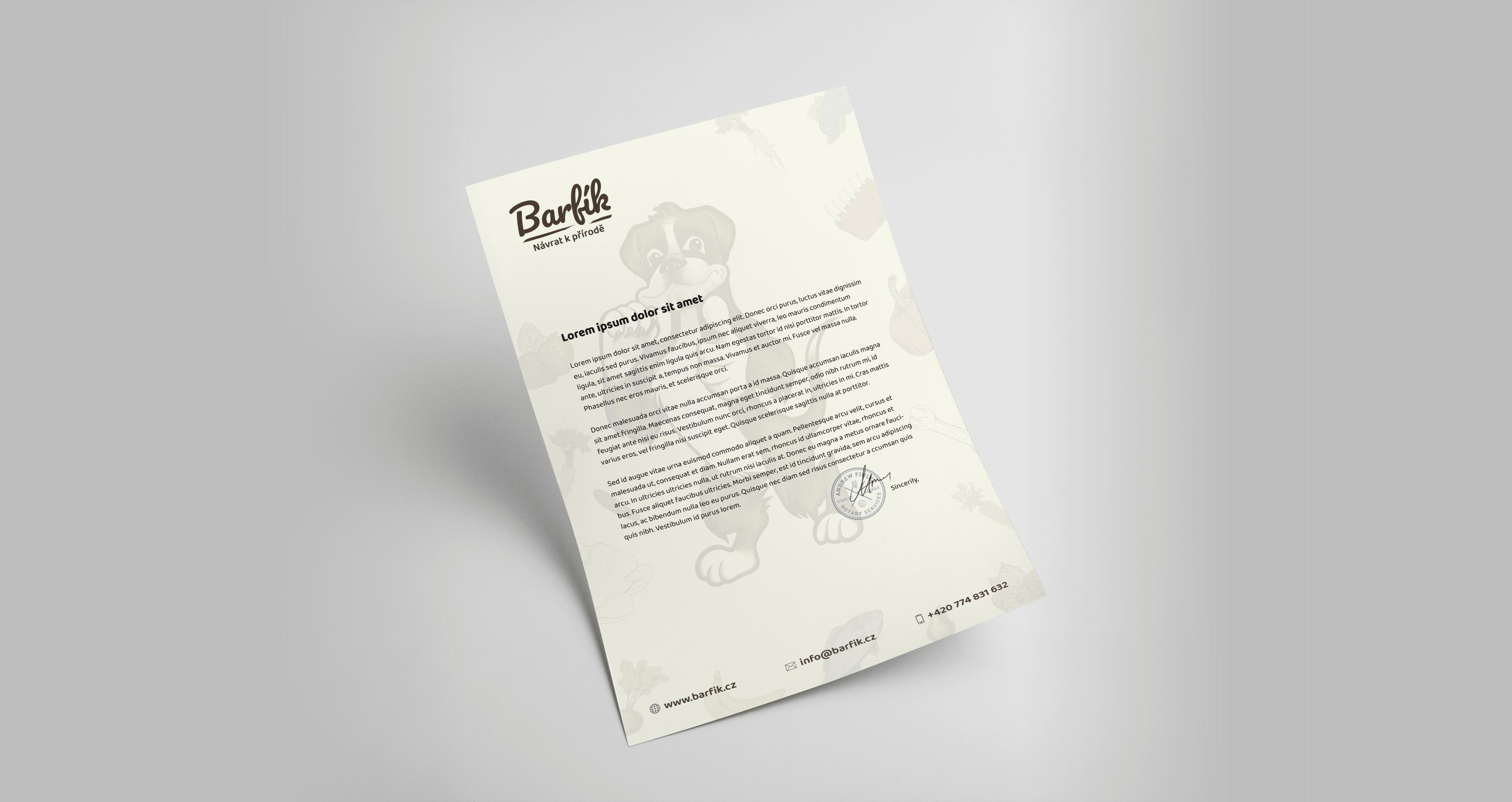 Tvorba loga avizuální identity Barfík hlavičkový papír