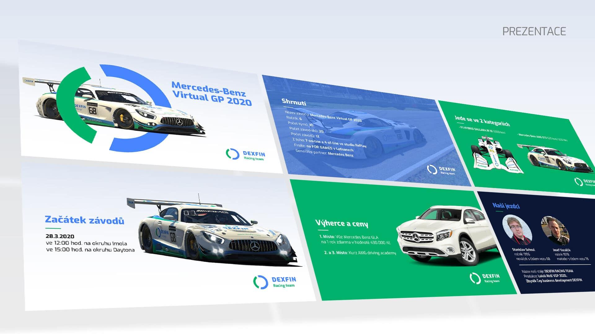 Tvorba loga avizuální identity Dexfin prezentace závody