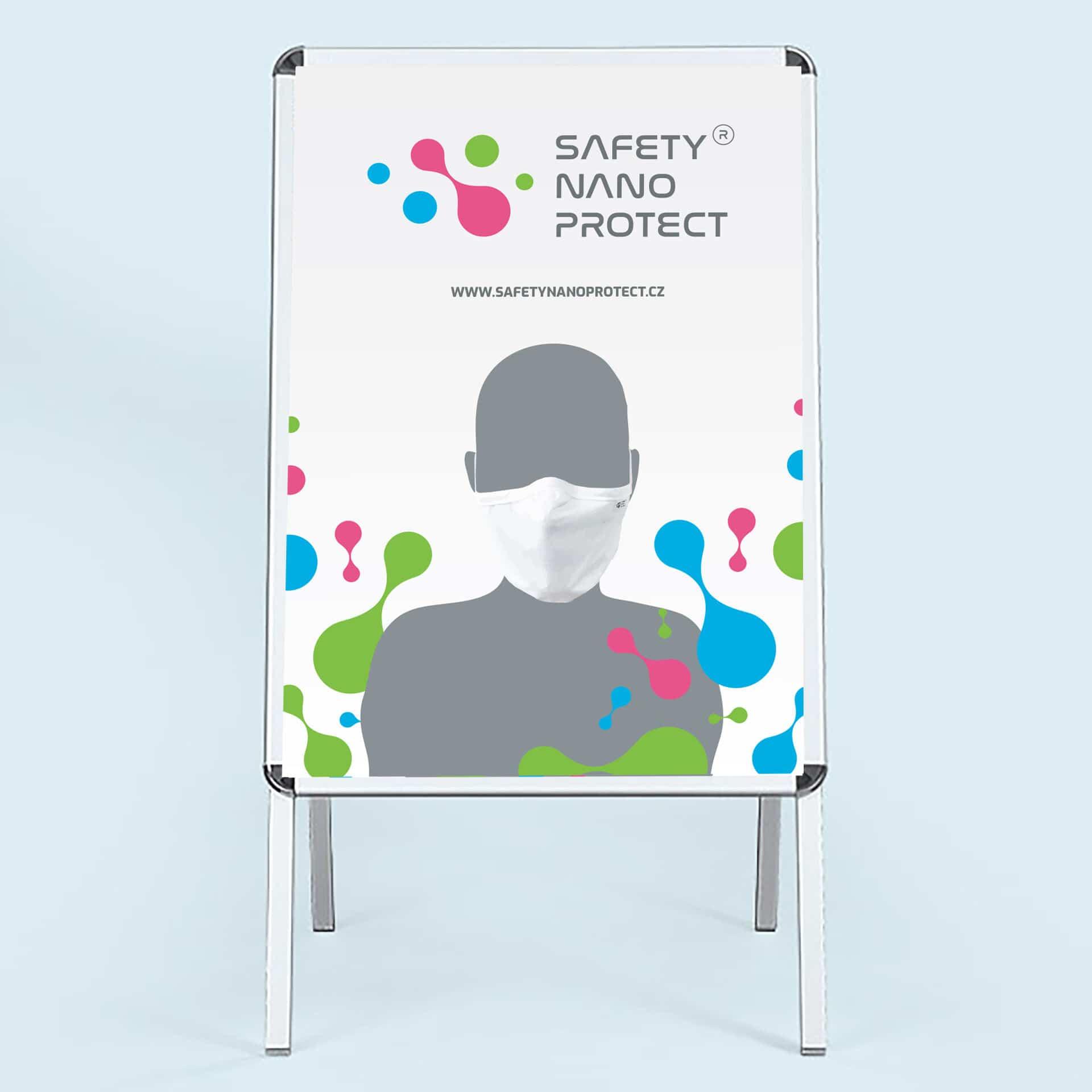 Tvorba loga avizuální identity Safety Nano Protect poutač